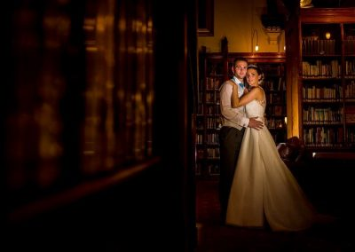 Bride and Groom in the Library